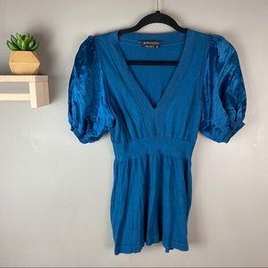 BCBG MAXAZRIA blue sweater silk puff sleeve sz XS